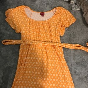 Yellow Midi summer flow dress with waist tie